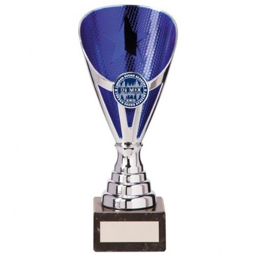 Rising Stars Premium Plastic Trophy Silver & Blue 185mm